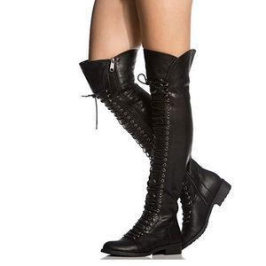 Black Thigh High Combat Boots